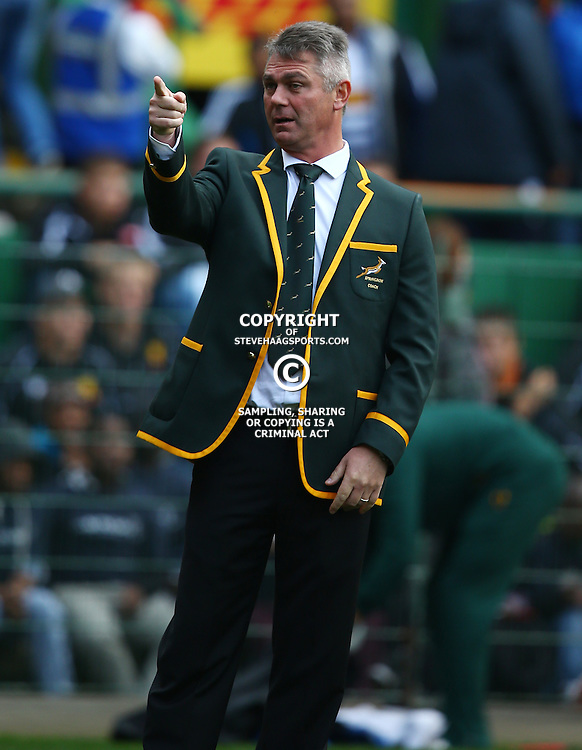 CAPE TOWN, SOUTH AFRICA - JULY 11: Springbok coach Heyneke Meyer during the match between South Africa and World VX at DHL Newlands Stadium on July 11, 2015 in Cape Town, South Africa. (Photo by Steve Haag/Gallo Images)
