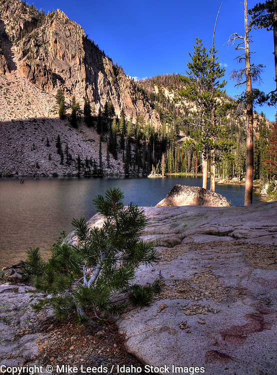 Un-named lake in the Sawtooth Mountains below the Finger of Fate in Idaho.