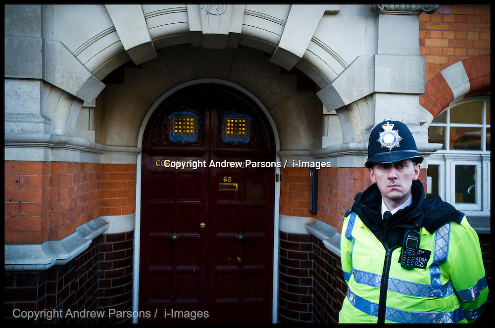 A police officer stands outside Westminster Coroners Court on December 13, 2012 in London, England. The inquest into the death of Jacintha Saldanha begins at Westminster Coroners Court today. Jacintha Saldanha was one of two hospital staff who were responsible for inadvertently revealing details of the pregnant duchess's medical condition to two Australian DJ's, and was subsequently found dead. Photo By Andrew Parsons / i-Images