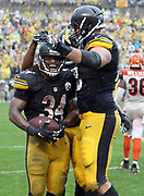 Pittsburgh Steelers running back DeAngelo Williams (34) celebrates with teammates after catching a 4 yard fourth quarter touchdown pass that gives the Steelers a 24-9 lead during the 2016 NFL week 2 regular season football game against the Cincinnati Bengals on Sunday, Sept. 18, 2016 in Pittsburgh. The Steelers won the game 24-16. (©Paul Anthony Spinelli)