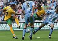 Coventry - Saturday August 9th, 2008: Darel Russell of Norwich City trys to get a shot on target against Coventry City during the Coca Cola Championship match at The Ricoh Arena, Coventry. (Pic by Michael Sedgwick/Focus Images)