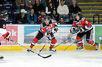 KELOWNA, CANADA, OCTOBER 26: Shane McColgan #18 and Colton Sissons #15 of the Kelowna Rockets skate on the ice as the Prince George Cougars visit the Kelowna Rockets on October 26, 2011 at Prospera Place in Kelowna, British Columbia, Canada (Photo by Marissa Baecker/Shoot the Breeze) *** Local Caption *** Shane McColgan; Colton Sissons;