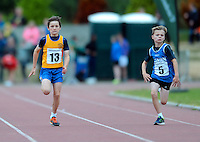 21 Aug 2016: Marc O'Brien, left, Clare, and Cormac Crotty, Cavan, on their way to winning 1st and 2nd place respectively in the Boys U10 100m Final. 2016 Community Games National Festival 2016.  Athlone Institute of Technology, Athlone, Co. Westmeath. Picture: Caroline Quinn