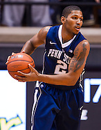 WEST LAFAYETTE, IN - JANUARY 13: D.J. Newbill #2 of the Penn State Nittany Lions holds the ball against the Purdue Boilermakers at Mackey Arena on January 13, 2013 in West Lafayette, Indiana. (Photo by Michael Hickey/Getty Images) *** Local Caption *** D.J. Newbill