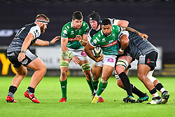 Monty Ioane of Benetton Treviso is tackled by Adam Beard of Ospreys<br /> <br /> Photographer Craig Thomas/Replay Images<br /> <br /> Guinness PRO14 Round 4 - Ospreys v Benetton Treviso - Saturday 22nd September 2018 - Liberty Stadium - Swansea<br /> <br /> World Copyright © Replay Images . All rights reserved. info@replayimages.co.uk - http://replayimages.co.uk