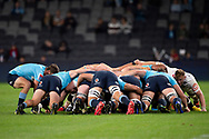 SYDNEY, AUSTRALIA - APRIL 27: Scrum packs at round 11 of Super Rugby between NSW Waratahs and Sharks on April 27, 2019 at Western Sydney Stadium in NSW, Australia. (Photo by Speed Media/Icon Sportswire)