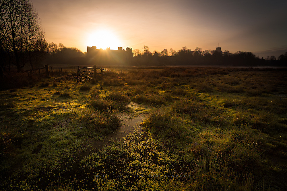 Arrived 10 minutes too late to catch a lovely pre-dawn sky, but got some nice light on the frozen water meadows, as the sun appeared over the castle