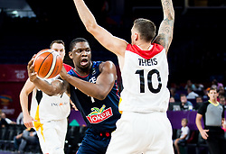 Kevin Seraphin of France vs Daniel Theis of Germany during basketball match between National Teams of Germany and France at Day 10 in Round of 16 of the FIBA EuroBasket 2017 at Sinan Erdem Dome in Istanbul, Turkey on September 9, 2017. Photo by Vid Ponikvar / Sportida