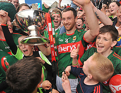 Keith Higgins surrounded by jubilant Mayo Fans in Hyde Park after Mayo's Connacht Final win over Sligo on sunday.<br /> Pic Conor McKeown