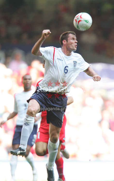 CARDIFF, WALES - SATURDAY, SEPTEMBER 3rd, 2005: England's Jamie Carragher in action against Wales during the World Cup Qualifier at the Millennium Stadium. (Pic by David Rawcliffe/Propaganda)