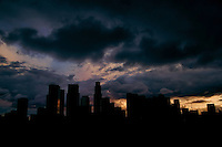 Skyline Silhouette, Hermosa Park, Los Angeles, California.
