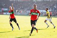 NIJMEGEN, NEC - Vitesse, voetbal, Eredivisie seizoen 2016-2017, 23-10-2016, Stadion de Goffert, NEC speler Dario Dumic (M) juicht na de 1-1, NEC speler Andre Fomitschow (L), Vitesse speler Lewis Baker (R).