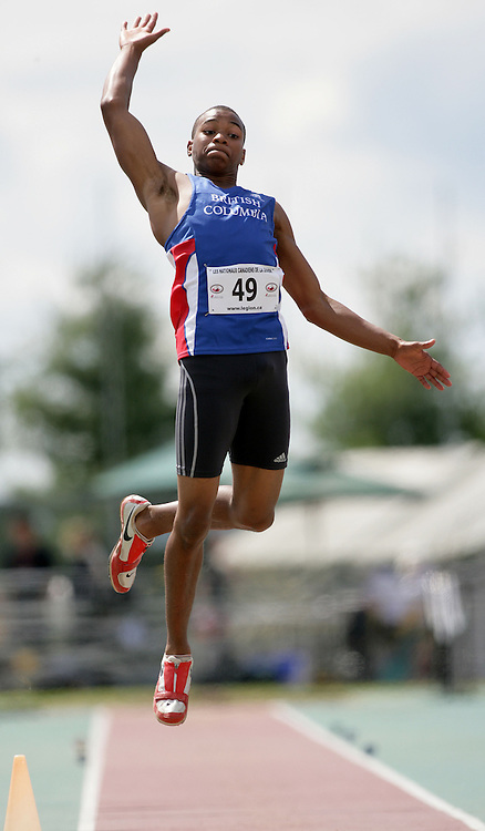(Sherbrooke, Quebec -- 20090808)  Nicholas Fyffe of British Columbia competes in Boys under-15 long jump final at the 2009 Royal Canadian Legion National Youth track and field championships. Photograph copyright Sean Burges / Mundo Sport Images  2009.