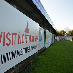 TELFORD COPYRIGHT MIKE SHERIDAN Visit North Korea sign age at Croft Park during the National League North fixture between Blyth Spartans and AFC Telford United at Croft Park on Saturday, September 28, 2019<br /> <br /> Picture credit: Mike Sheridan<br /> <br /> MS201920-023