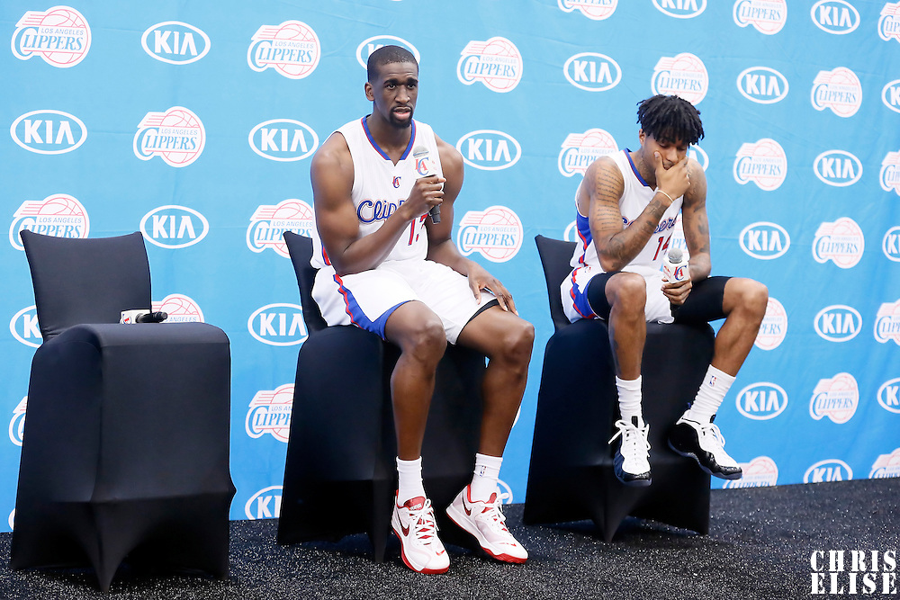 29 September 2014: Ekpe Udoh and Chris Douglas-Roberts are seen during the Los Angeles Clippers Media Day, at Los Angeles Clippers Training Facility, Playa Vista, California, USA.