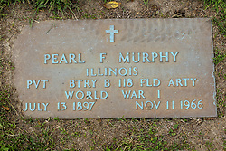 31 August 2017:   Veterans graves in Park Hill Cemetery in eastern McLean County.<br /> <br /> Pearl F Murphy  Illinois Private BTRY B 118 FLD Artillery World War I  July 13 1897  Nov 11 1966