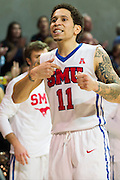 DALLAS, TX - FEBRUARY 19: Nic Moore #11 of the SMU Mustangs celebrates after defeating the Temple Owls on February 19, 2015 at Moody Coliseum in Dallas, Texas.  (Photo by Cooper Neill/Getty Images) *** Local Caption *** Nic Moore