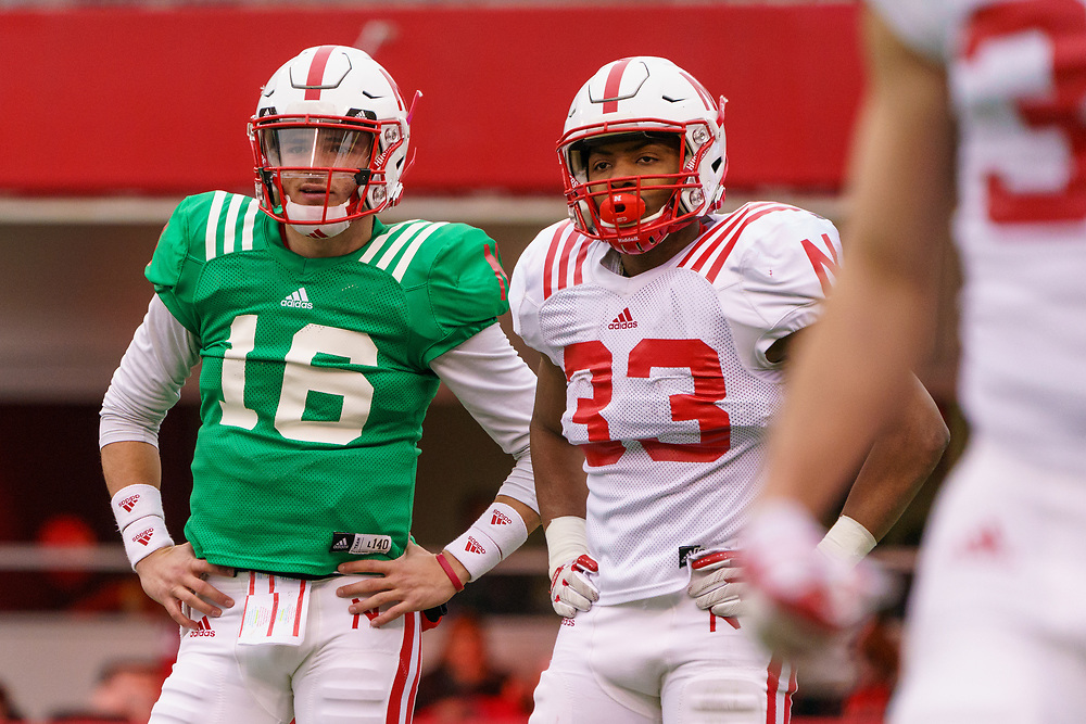 Noah Vedral #16 stands with Jaylin Bradley #33 during Nebraska's annual Spring Game at Memorial Stadium in Lincoln, Neb., on April 21, 2018. © Aaron Babcock