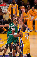 17 June 2010: Forward Pau Gasol of the Los Angeles Lakers shoots the ball while being defended by Rasheed Wallace of the Boston Celtics during the first half of the Lakers 83-79 championship victory over the Celtics in Game 7 of the NBA Finals at the STAPLES Center in Los Angeles, CA.