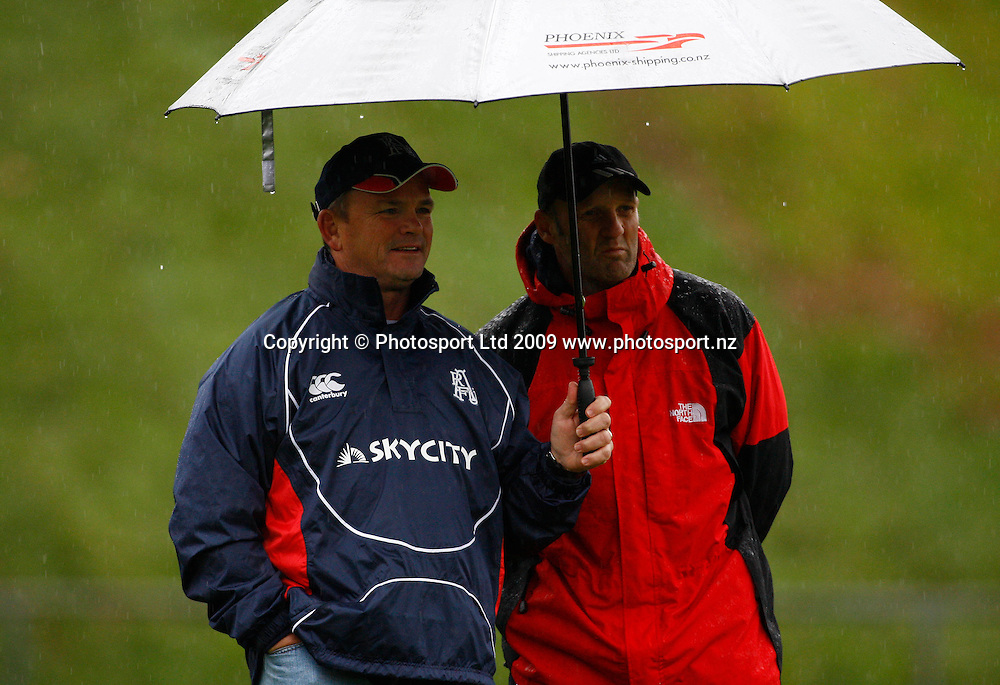 Auckland coach Mark Anscombe and assistant coach Andrew Strawbridge (R). Air NZ Cup Preseason Rugby Union Match. Counties-Manukau v Auckland. Growers Stadium, Pukekohe, Manukau, Auckland, New Zealand. Saturday 11 July 2009. Photo: Simon Watts/PHOTOSPORT
