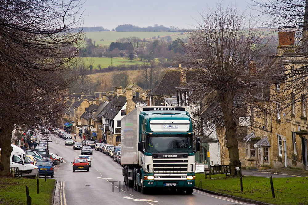 Heavy Goods Vehicle on Burford High Street, Oxfordshire, United Kingdom