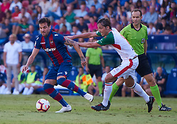 September 30, 2018 - Valencia, U.S. - VALENCIA, SPAIN - SEPTEMBER 30: Tom‡s Pina, midfielder of Deportivo Alaves competes for the ball with To–o, defender of Levante UD during the La Liga match between Levante UD and Deportivo Alaves at Estadio Ciutat de Valencia on September 30, 2018, in Valencia, Spain. (Photo by Carlos Sanchez Martinez/Icon Sportswire) (Credit Image: © Carlos Sanchez Martinez/Icon SMI via ZUMA Press)