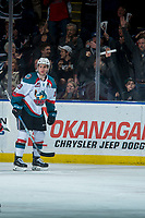 KELOWNA, CANADA - MARCH 14:  Dillon Dube #19 of the Kelowna Rockets celebrates a goal against the Prince George Cougars on March 14, 2018 at Prospera Place in Kelowna, British Columbia, Canada.  (Photo by Marissa Baecker/Shoot the Breeze)  *** Local Caption ***