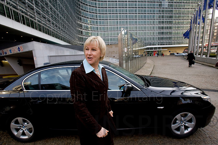 BRUSSELS - BELGIUM - 12 FEBRUARY 2009 -- The Swedish EU Commissioner Margot WALLSTRÖM outside the European Commission building Berlaymont next to a official car borrowed from another member of the commission. Photo: Erik Luntang/INSPIRIT