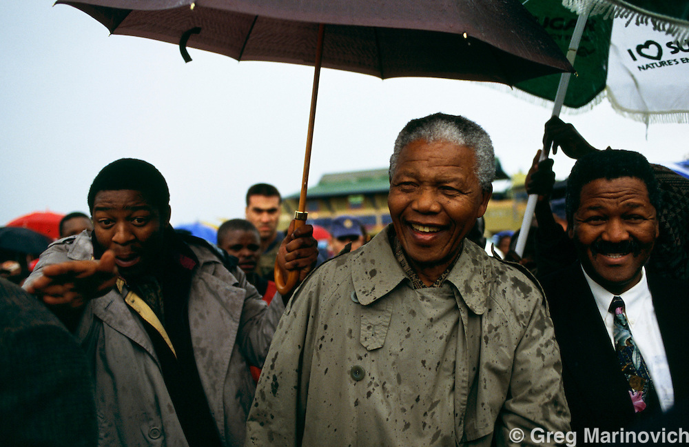 Nelson Mandela, makes a stop in KwaZulu Natal ahead of South Africa's first democratic election in 1994