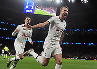 Football - 2019 / 2020 UEFA Champions League - Group B: Tottenham Hotspur vs. Olympiakos<br /> <br /> Harry Kane of Spurs celebrates scoring the equalising goal, at The Tottenham Hotspur Stadium.<br /> <br /> COLORSPORT/ANDREW COWIE