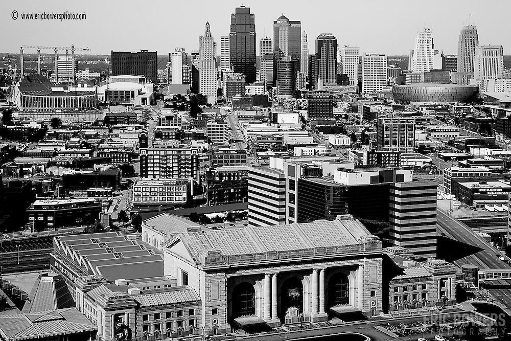 Kansas City's skyline with Union Station in the foreground and the Kauffman Center's construction to the top left.