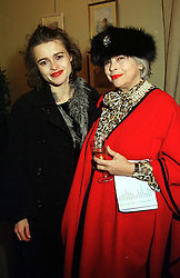 Left to right, actress HELENA BONHAM-CARTER and her mother MRS ELENA BONHAM-CARTER,  at an exhibition in London on 29th November 1999.   MZM 23