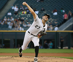 August 22, 2017 - Chicago, IL, USA - Chicago White Sox pitcher Lucas Giolito works against the Minnesota Twins at Guaranteed Rate Field in Chicago on August 22, 2017. (Credit Image: © Stacey Wescott/TNS via ZUMA Wire)