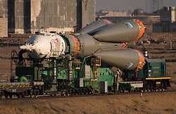 September 10, 2017 - Baikonur, Kazakhstan - The Russian Soyuz rocket and Soyuz MS-06 spacecraft are rolled by train to the Baikonur Cosmodrome launch pad in preparation for the NASA International Space Station Expedition 53 mission September 10, 2017 in Baikonur, Kazakhstan. International Space Station Expedition 53 crew American astronaut Mark Vande Hei of NASA, Soyuz Commander Alexander Misurkin of Roscosmos, and American astronaut Joe Acaba of NASA will launch aboard the rocket on September 13th. (Credit Image: © Bill Ingalls/Planet Pix via ZUMA Wire)