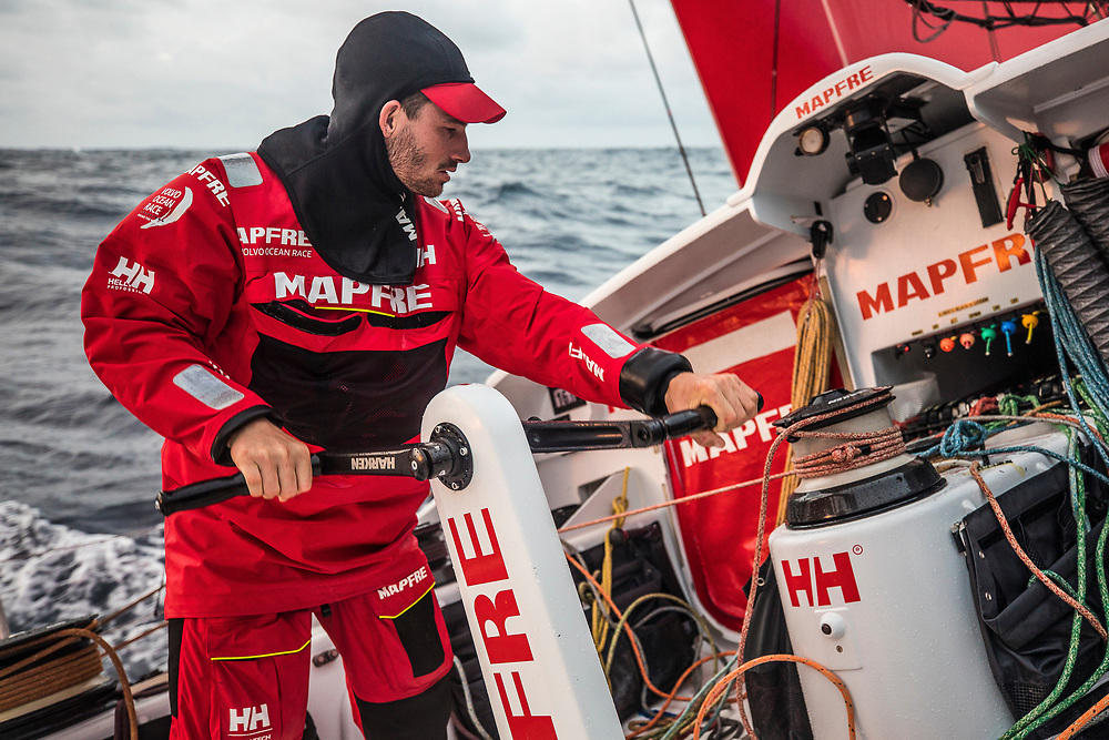 Leg 6 to Auckland, day 03 on board MAPFRE, Louis Sinclair trimming. 09 February, 2018.