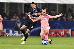November 6, 2018 - Milan, Milan, Italy - Arthur of Barcelona is challenged by Matías Vecino of Inter Milan during the UEFA Champions League Group Stage match between Inter Milan and Barcelona at Stadio San Siro, Milan, Italy on 6 November 2018. Photo by Giuseppe Maffia. (Credit Image: © AFP7 via ZUMA Wire)