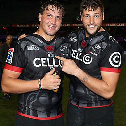 DURBAN, SOUTH AFRICA - MAY 27: Etienne Oosthuizen  with Ruan Botha of the Cell C Sharks during the Super Rugby match between Cell C Sharks and DHL Stormers at Growthpoint Kings Park on May 27, 2017 in Durban, South Africa. (Photo by Steve Haag/Gallo Images)