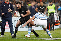 New Zealand's Nehe Milner Skudder, left, looks to run past Argentina's Santiago Gonzalez Iglesias in the Investic Rugby Championship Test match at Yarrow Stadium, New Plymouth, New Zealand, Saturday, September 09, 2017. Credit:SNPA / Dean Pemberton  **NO ARCHIVING**