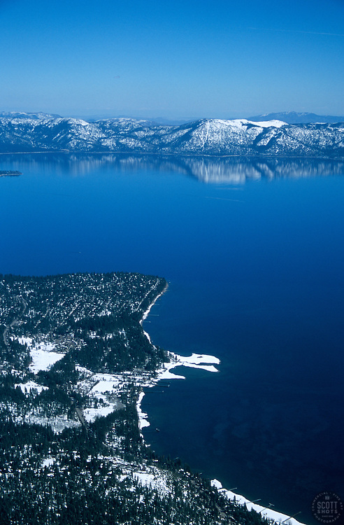 """Lake Tahoe Shoreline""- Lake Tahoe photographed from an airplane."