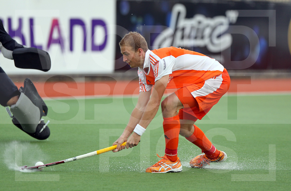 Mens Champions Trophy, Auckland, New Zealand 2011. Day 1 Netherlands v Korea.Billy Bakker of the Netherlands goals..Photo: Grant Treeby.one off Editorial Use only,( no archiving )......................Photo: Grant Treeby...Editorial use only (No Archiving) Unless previously arranged