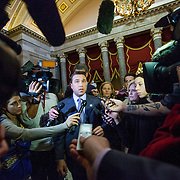 Rep. Michael Grimm (R-NY) addresses reporters on his way to a meeting with Speaker of the House John Boehner (R-OH) on Wednesday, Jan. 2nd, 2013 in Washington. (Photo by Jay Westcott/Politico)