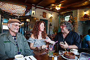 Havana, Cuba,December 18, 2014: Jazz master Bobby Kapp in Old Havana at La Bodeguita del Medio, a hangout of Hemmingway's, on the day the easing of relations iwth the USA was announced. He is with Gabriel Hernandez, jazz pianist, composer and musical director of  his LP,and friend Gabriela 12/18/2014 (Photo: Ann Summa).