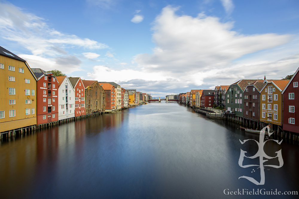 The waterfront along the river Nid, in Trondheim, Norway.