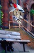 A skateboarder, ollieing a gap, Uk 1990's