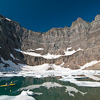 kayaking, boating in iceberg lake, glacier natinal park, pacboat, crown of the continent, montana, usa,