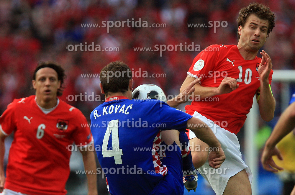 Robert Kovac of Croatia vs Andreas Ivanschitz of Austria during the UEFA EURO 2008 Group B soccer match between Austria and Croatia at Ernst-Happel Stadium, on June 8,2008, in Vienna, Austria.  (Photo by Vid Ponikvar / Sportal Images)