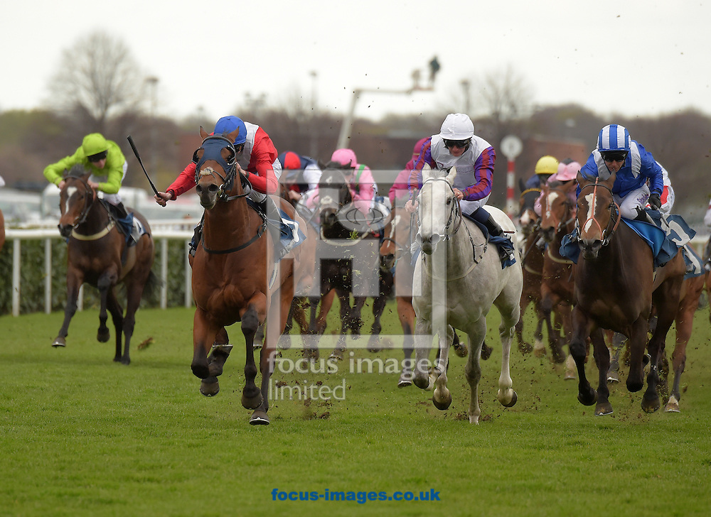 Remarkable with Robert Havlin (red, white sash, blue cap) wins in the Ashley Lewis Modular Buildings Handicap stakes  during the Afternoon Racing meeting at Doncaster Racecourse, Doncaster.<br /> Picture by Martin Lynch/Focus Images Ltd 07501333150<br /> 22/04/2016