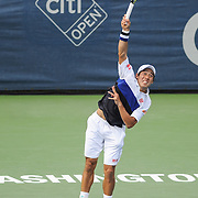 KEI NISHIKORI of Japan plays against John Isner of the United States during the men's final of the Citi Open at the Rock Creek Tennis Center in Washington, D.C. Nishikori won in 3 sets.