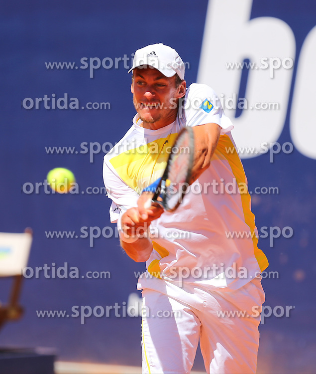 31.07.2013, Sportpark, Kitzbuehel, AUT, ATP World Tour, bet at home Cup 2013, Einzel Achtelfinale, im Bild Tennisspieler Andreas HAIDER-MAURER (AUT) waehrend seiner Zweitrunden-Partie gegen Juan MONACO (ARG) // during best of sixteen of bet at home Cup 2013 tennis tournament of the ATP World Tour at the Sportpark in Kitzbuehel, Austria on 2013/07/31. EXPA Pictures &copy; 2013, PhotoCredit: EXPA/ Eibner/ Tobias Eriksson<br /> <br /> ***** ATTENTION - OUT OF GER *****