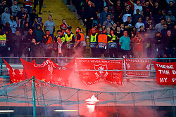 NAPLES, ITALY - Wednesday, October 3, 2018: A red firework flare is thrown into the Liverpool supporters end by Napoli fans during the UEFA Champions League Group C match between S.S.C. Napoli and Liverpool FC at Stadio San Paolo. (Pic by David Rawcliffe/Propaganda)